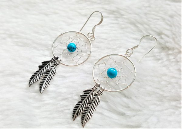 Dream Catcher 925 Sterling Silver Earrings with Turquoise Beads American Indian Chief Talisman Amulet Double Feather
