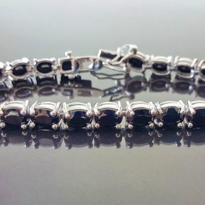 Tennis Bracelet Genuine Black Onyx 925 Sterling Silver 8 inches 21.2 g