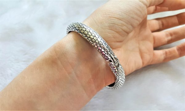 Ouroboros Bracelet STERLING SILVER 925 Snake eating Tail Ancient Egyptian Iconography Talisman Amulet Good Luck Heavy 44.6 grams