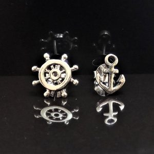 Anchor & Steering Wheel Stud Earrings STERLING SILVER 925 Sailor Talisman Protective Amulet