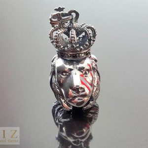 Crown Lion Pendant 925 Sterling Silver Royal LION LEO Iced Crown Pendant Punk Rock Goth Biker Queen King Leo Zodiac 14 grams