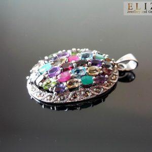 925 Sterling Silver Pendant Genuine Precious Gems Multi Stone & Marcasite Garnet Topaz Peridot Citrine Ruby Exclusive Gift