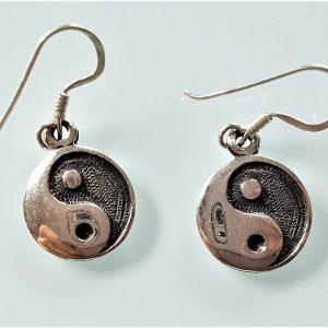 Yin Yang Earrings STERLING SILVER 925 Energy Balance Harmony Talisman Amulet