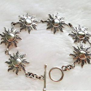 Sun Bracelet STERLING SILVER 925 Goddess Sun Sacred Symbol Talisman Amulet Gift 6.5 inches