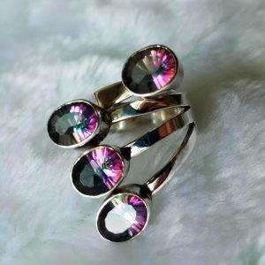 Sterling Silver Ring Natural Mystic Quartz UNIQUE Design SIZE 7 Adjustable