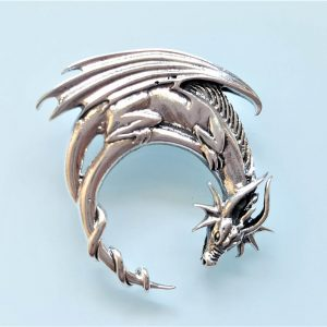 Dragon Pendant  STERLLING SILVER Moon Shape Game of Thrones Talisman medieval dragon Gothic Gift
