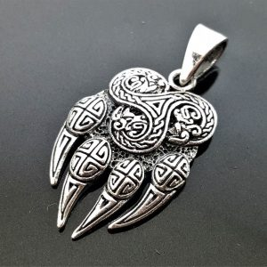 Bear Paw Claw Sterling Silver 925 Pendant Triskelion Viking Bear Paw Claw Slavic Warding Veles Talisman Amulet