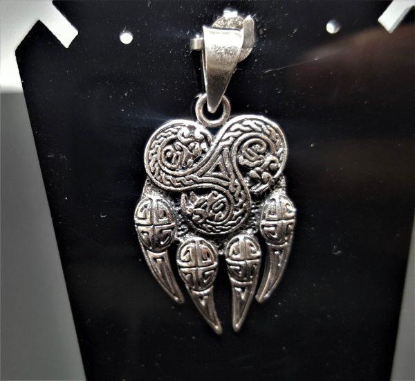 Bear Paw Claw Sterling Silver 925 Pendant Triskelion Viking Bear Paw Claw Slavic Warding Veles Talisman Amulet