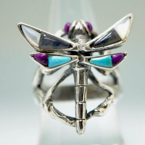 Dragonfly Ring 925 Sterling Silver Handmade Natural Amethyst, Turquoise, Labordorite, Mother of Pearl Butterfly Ring