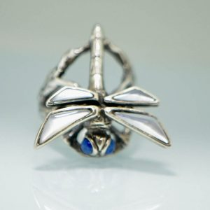 Dragonfly 925 Sterling Silver Handmade Ring With Lapis Eyes and Mother of Pearl Wings Butterlfy Ring Exclusive Gift