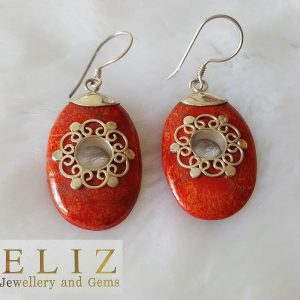 Red Coral Earrings 925 Sterling Silver Balinese Genuine Natural Stone Handmade