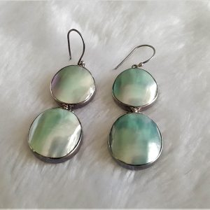 Shell Earrings 925 Sterling Silver Natural Ocean Shell Mother of Pearl Handmade Exclusive gift