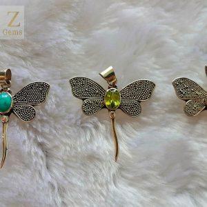Dragonfly STERLING SILVER 925 Pendant Peridot/Garnet/Turquoise Natural Gemstones
