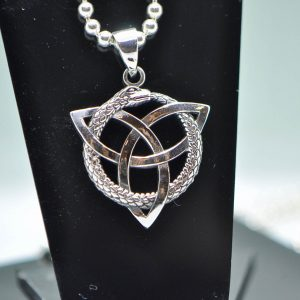 Ourborus Pendant 925 Sterling Silver Trinity Knot Triquetra Norse Sacred Symbol Snake eating its tail