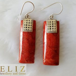 Sterling Silver 925 Natural Red Coral Long Earrings Custom Made Exclusive Gift