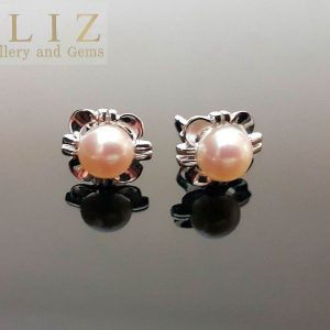 Pearl Stud Earrings 925 Sterling Silver Natural White Freshwater Bridal Bridesmaids Gift