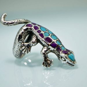 Salamander 925 Sterling Silver Ring Natural Amethyst and Natural Turquoise Lizard Gecko Cute Gift