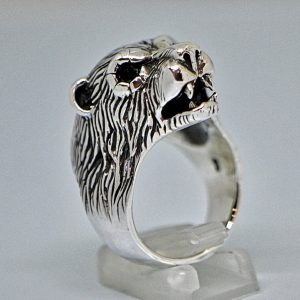 Bear 925 Sterling Silver Ring Polar Bear With Onyx Eyes