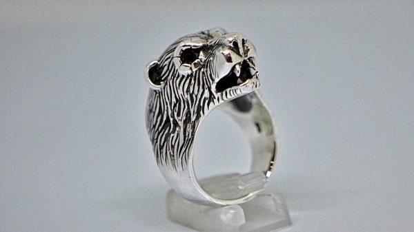 Bear 925 Sterling Silver Ring Polar Bear With Onyx Eyes