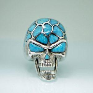 Skull 925 Sterling Silver Ring Natural Turquoise Gemstones Biker Ring Rocker Punk Goth Heavy 26 grams