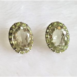 STERLING SILVER 925 Earrings Genuine Brazilian Prasiolite & Precious Peridot Natural Gemstone Green Amethyst