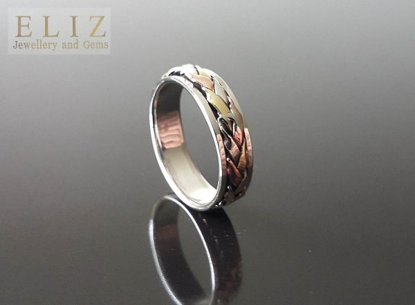 Spinner 925 STERLING SILVER Ring Unique Design with mild Copper and Brass Accents Meditation Antistress Fidget
