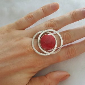Natural Red Coral Sterling Silver 925 Ring Adjustable Size