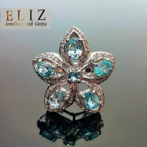 Sterling Silver 925 Flower Ring with Genuine Blue Topaz Size 8