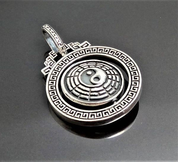925 Sterling Silver Yin Yang Buddhist Symbols Mantra Lotus Scripture Zen Namaste Guru Awakened Enlightened Moving Pendant Heavy 23.5 grams
