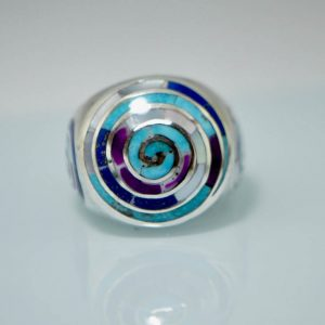 925 Sterling Silver Ring Spiral Khundilini Chakra Natural Lapis Turquoise Amethyst Mother of Pearl