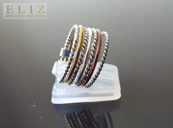 Sterling Silver 925 Set Of 7 Rings Colored Stackable Set Assorted Rings with mild Copper and Brass Accents Meditation Antistress