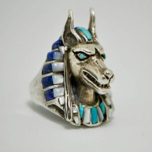 Anabis Ring 925 Sterling Silver Natural Turquoise, Lapis and Mother of Pearl Egyptian God Sacred Symbol Pharaoh