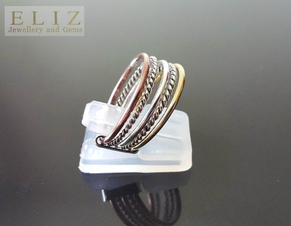 Stackable Set Of 7 Rings Tri Colored Set .925 Sterling Silver with mild Copper and Brass Accents Meditation Antistress