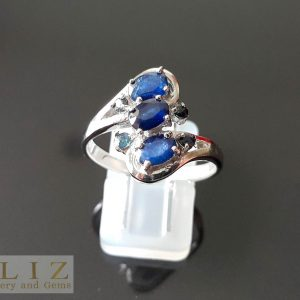 Sapphire Sterling Silver 925 Ring Genuine Precious RARE UNTREATED Sapphire Exclusive Gift
