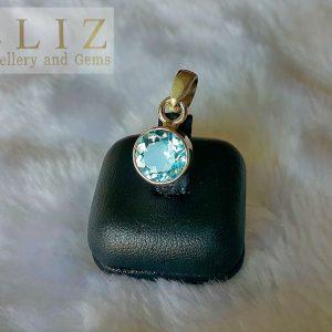 Blue Topaz Sterling Silver 925 Pendant Genuine Sky Blue Topaz Charm Round Shape Natural Gemstone