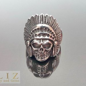 Skull Ring 925 Sterling Silver American Indian Tribal Chief Skull biker goth punk rocker