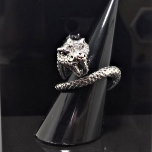 Snake STERLING SILVER 925 Ring Cleopatra Jewelry Snake Teeth Talisman Amulet Good Luck Heavy 18 grams Adjustable