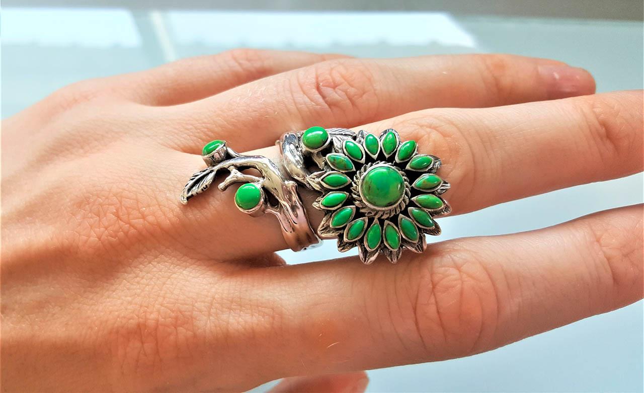 Sunflower Ring 925 Sterling Silver Flower Natural Green ...