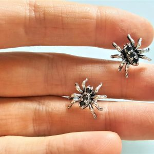 Spider Errings Stud Sterling Silver 925 Black Onyx Exclusive Design Spiders Stud Earrings Gothic