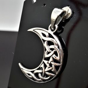 Crescent Moon Pendant Sterling Silver 925 Star Occult Wiccan Pagan Pentagram Pentacle Talisman Amulet Charm Necklace
