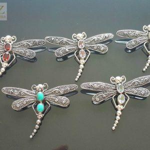 Dragonfly Pendant Sterling Silver 925 Brooch/PENDANT Genuine Peridot Gift Handmade Amethyst/Turquoise/Garnet/Blue Topaz Natural Gemstones