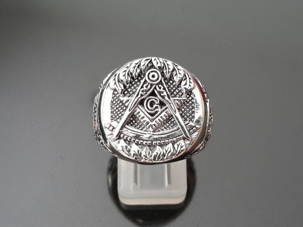 Masonic 925 Sterling Silver Ring Master Mason G Letter Geometry Square and Compasses Illuminati Masonic Sacred Symbols Freemason Talisman Amulet