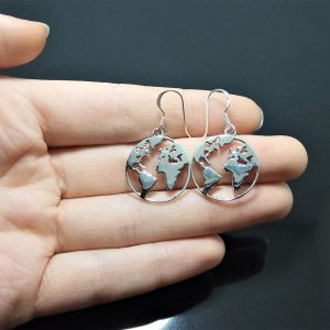 World MAP Earrings STERLING SILVER 925 Planet Earth Globe Geography Gift