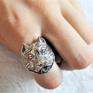 Dog 925 Sterling Silver Ring Staffordshire Bull Terrier Staffie Dog Ring Pet Talisman Exclusive Design Gift 24 grams