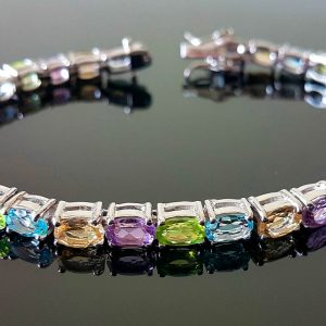 925 Sterling Silver Genuine Peridot Amethyst Blue Topaz Citrine Tennise Bracelet 7.5 inches