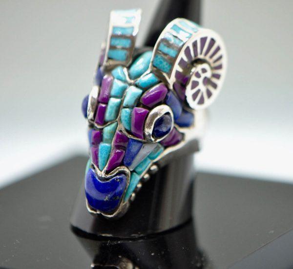 Ram Head Skull 925 Sterling Silver Biker Ring Genuine Turquoise Purple Howlite Lapis Unique Handcrafted