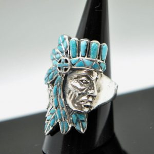 Native American Tribal Chief 925 Sterling Silver Ring Natural Turquoise American Indian Profile