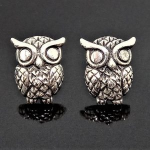 Owl Stud Earrings STERLING SILVER 925 Bird Symbol of Wisdom and Feminity Talisman Amulet