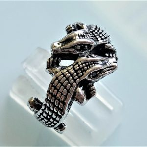 Sterling Silver Crocodile Ring Alligator Gemini Black Onyx