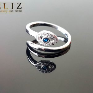 All Seeing Eye Sterling Silver 925 Ring Cubic Zirconia Protection Evil Eye Talisman Amulet